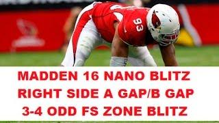 MADDEN 16 INSANE NANO BLITZ - 5 MAN B GAP HEAT - 3-4 Odd FS Zone Blitz