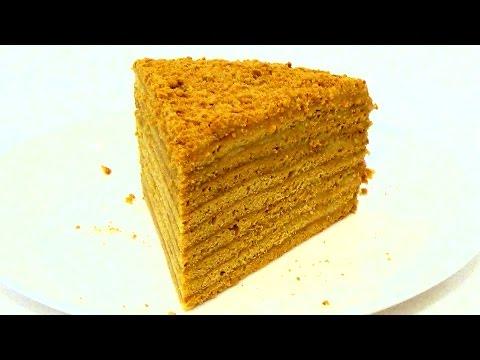 Торт Рыжик. Медовик с заварным кремом. Пошаговый видео рецепт.