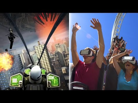 "Six Flags ""The New Revolution"" Virtual Reality Roller Coaster Magic Mountain NEW FOR 2016 Samsung VR"