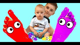 Funny Kids and Alice Learn Colors with Feet Painting