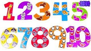 Учим цифры 1-20|Пазлы цифры|Учимся считать до 20| Развивающее видео для детей|Считаем зверей
