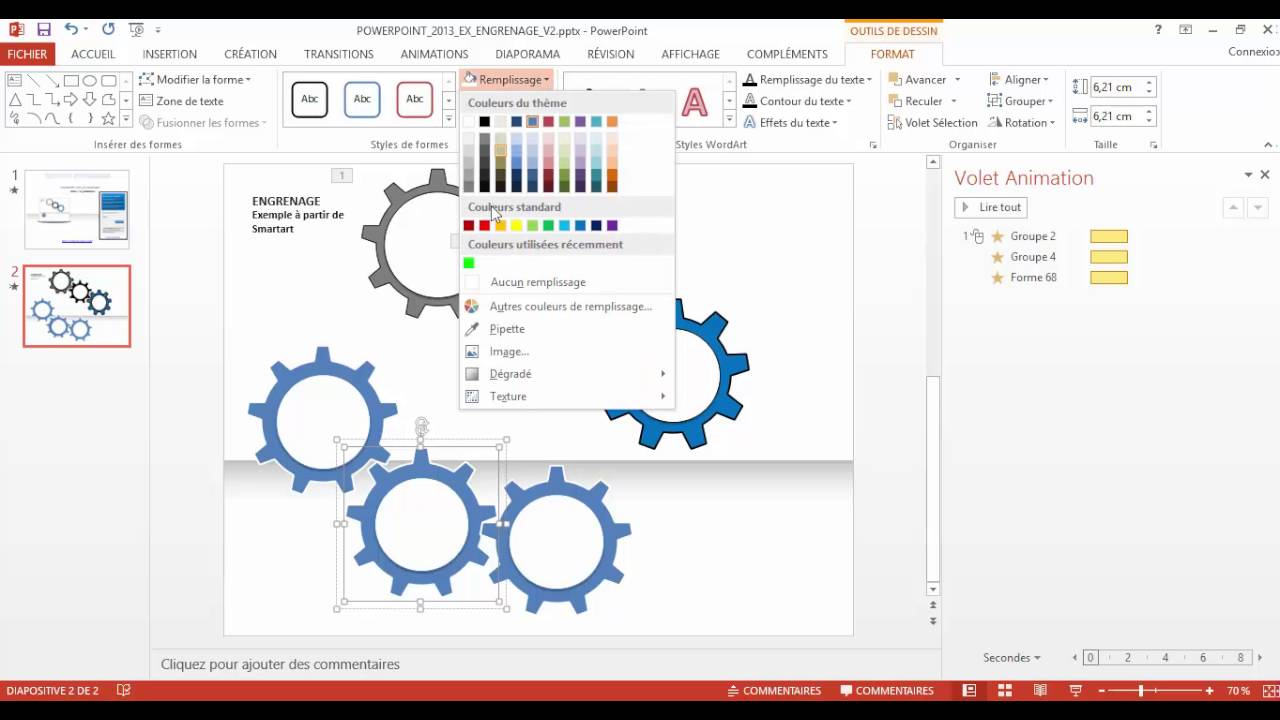 powerpoint 2013   comment faire un engrenage avec un