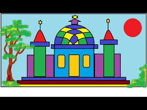 Cara Menggambar Masjid Tutorial Paint Youtube