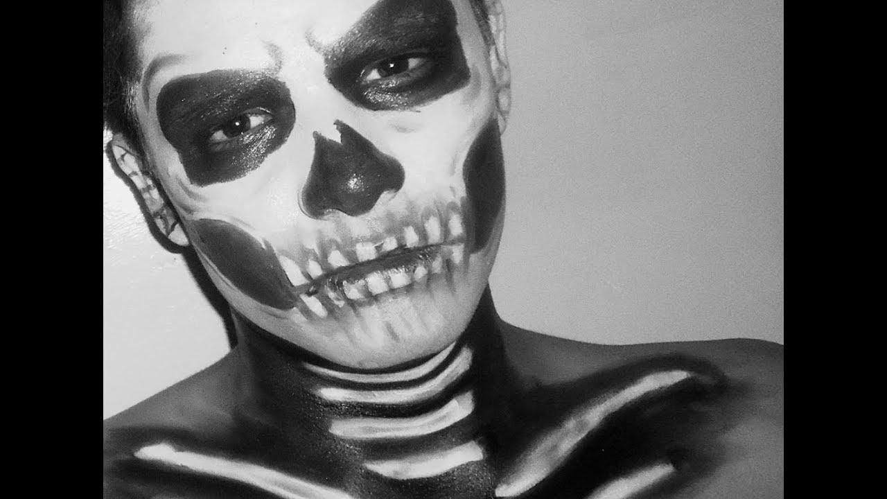 Calavera maquillaje para halloween skull makeup youtube - Pinturas para halloween ...