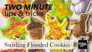How to Swirl Royal Icing on a Flooded Cookie | Two Minute Tips & Tricks | Global Sugar Art