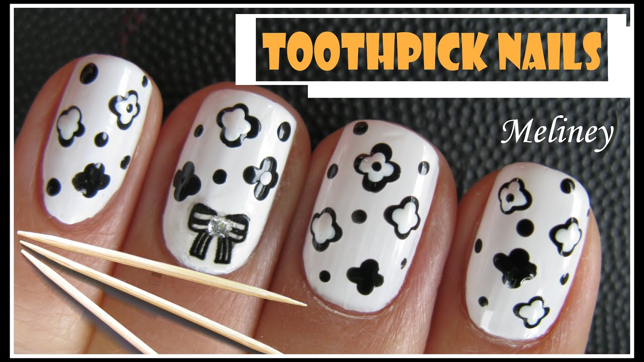 Toothpick nails easy black white flower nail art design using toothpick nails easy black white flower nail art design using dotting tools diy beginners how to youtube prinsesfo Gallery