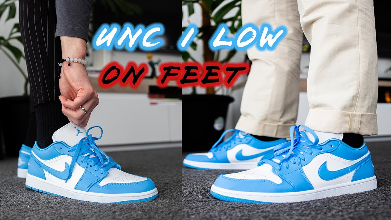 'UNC' Jordan 1 Low (Wmns) 2020 - On-Feet with Different Pants (They Just  Fit!!)