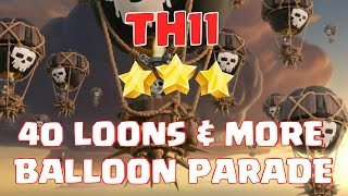 Mass balloon attack strategy | Balloon parade in TH11 clan war | Clash of Clans