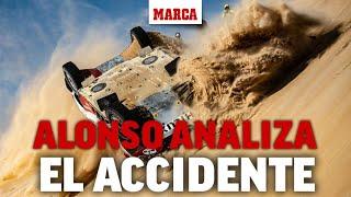 Fernando Alonso, tras volcar su coche en el Dakar: