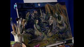 "Уроки рисования (№ 128) масляными красками. Рисуем картину ""Русалки"""