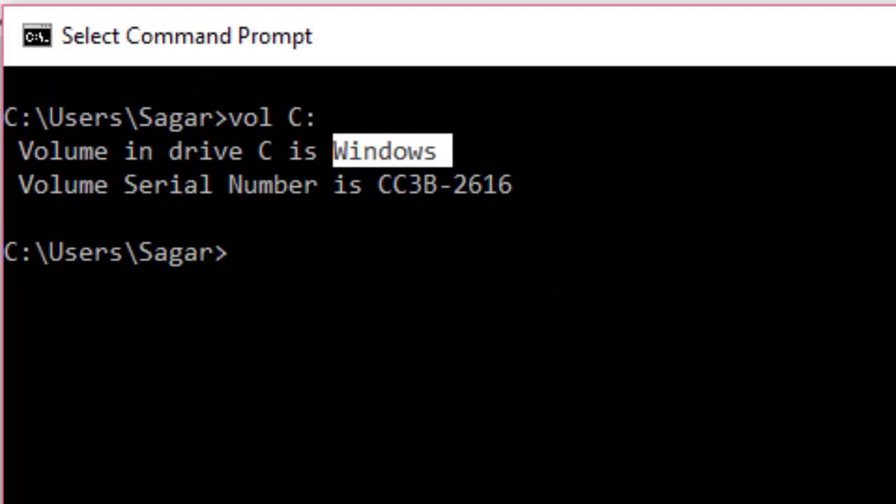 How to get drive volume label in Windows command prompt