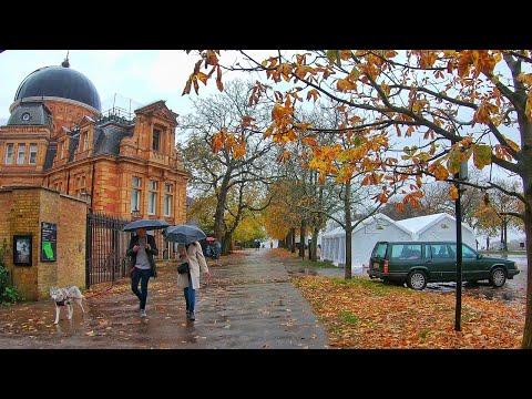 Walking London Greenwich in Autumn Rain ☔ - 4K Walk 2020