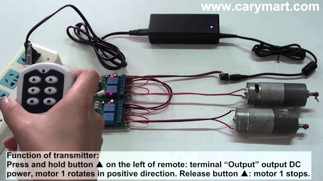 Wireless remote control two reversible DC motors - YouTube