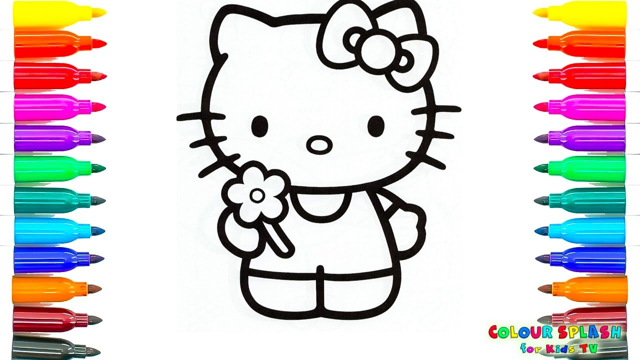 Coloring Pages To Print Hello Kitty Holding A Flower Kids Learn Drawing Art Colors For Children