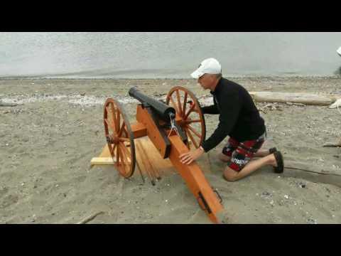 Half scale Napoleon Cannon load and fire on beach Coupeville WA