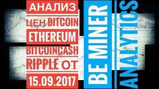 анализ цены Bitcoin Ethereum Ripple Bitcoin cash от 15-09-2017
