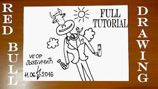 How to Draw RED BULL Gives You Wings Commercial No1 | Step by Step Easy | DRAWING TUTORIAL-FULL