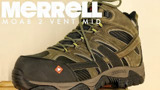 MERRELL WORK| MOAB 2 VENT MID WATERPROOF COMP TOE [ The Boot Guy Reviews ]