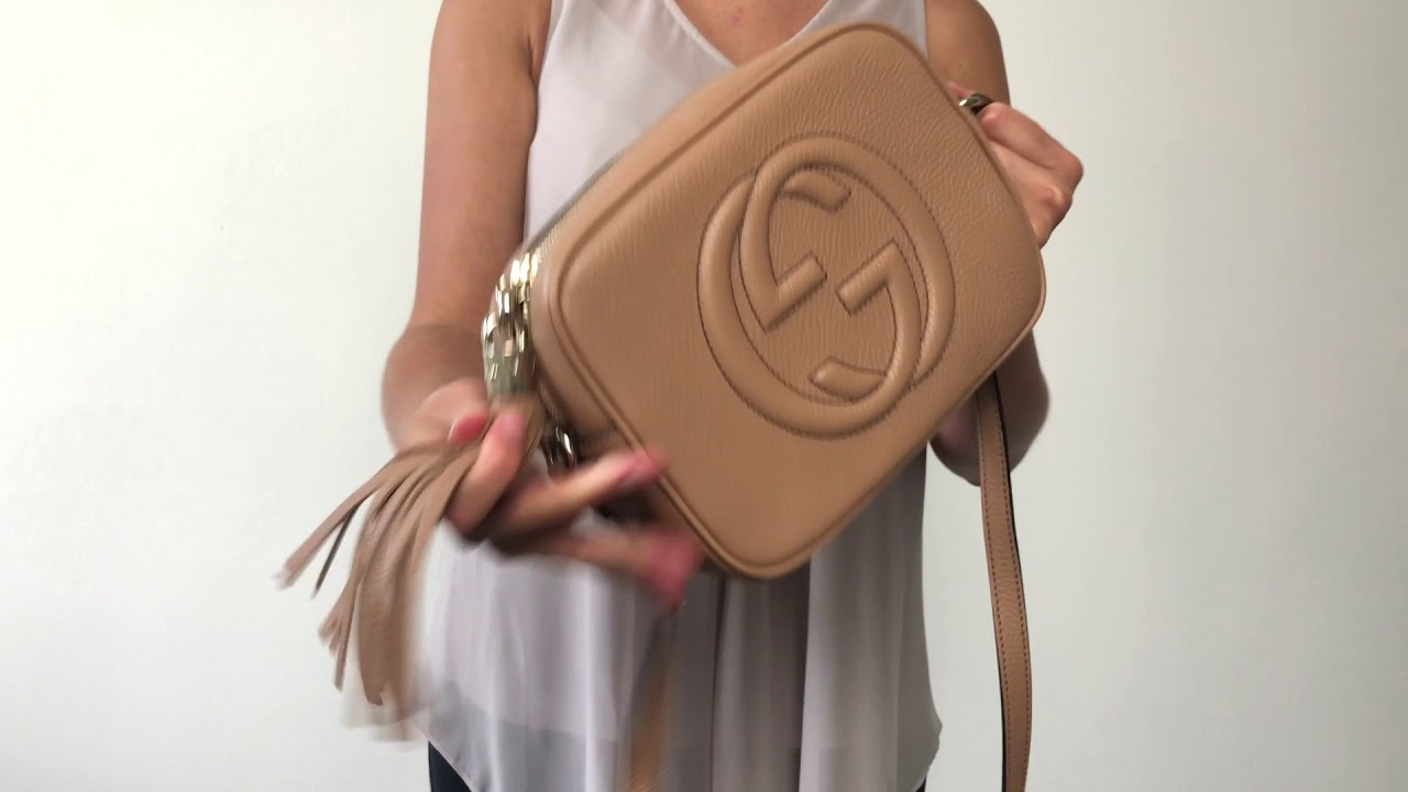 a5fdc8133d1e53 Gucci Soho Disco Camera Authentic Bag in Rose Beige - YouTube