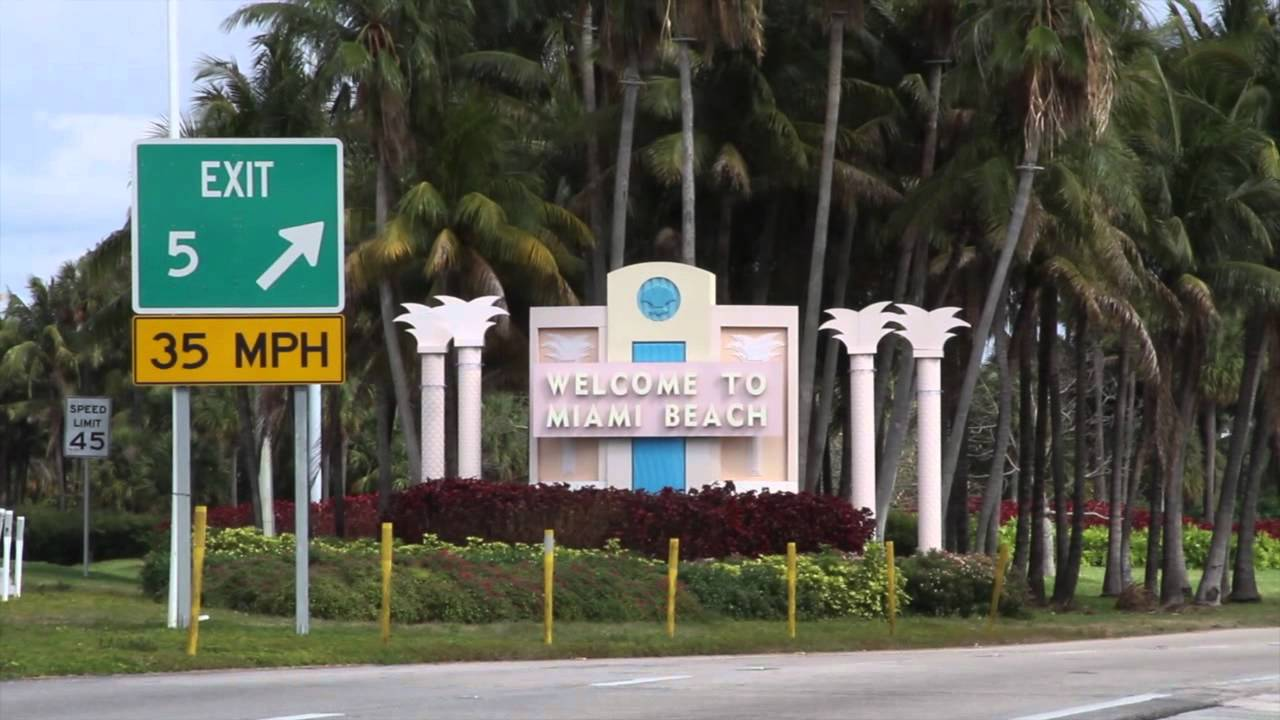 Free Stock Footage Miami Beach Welcome Sign Daytime