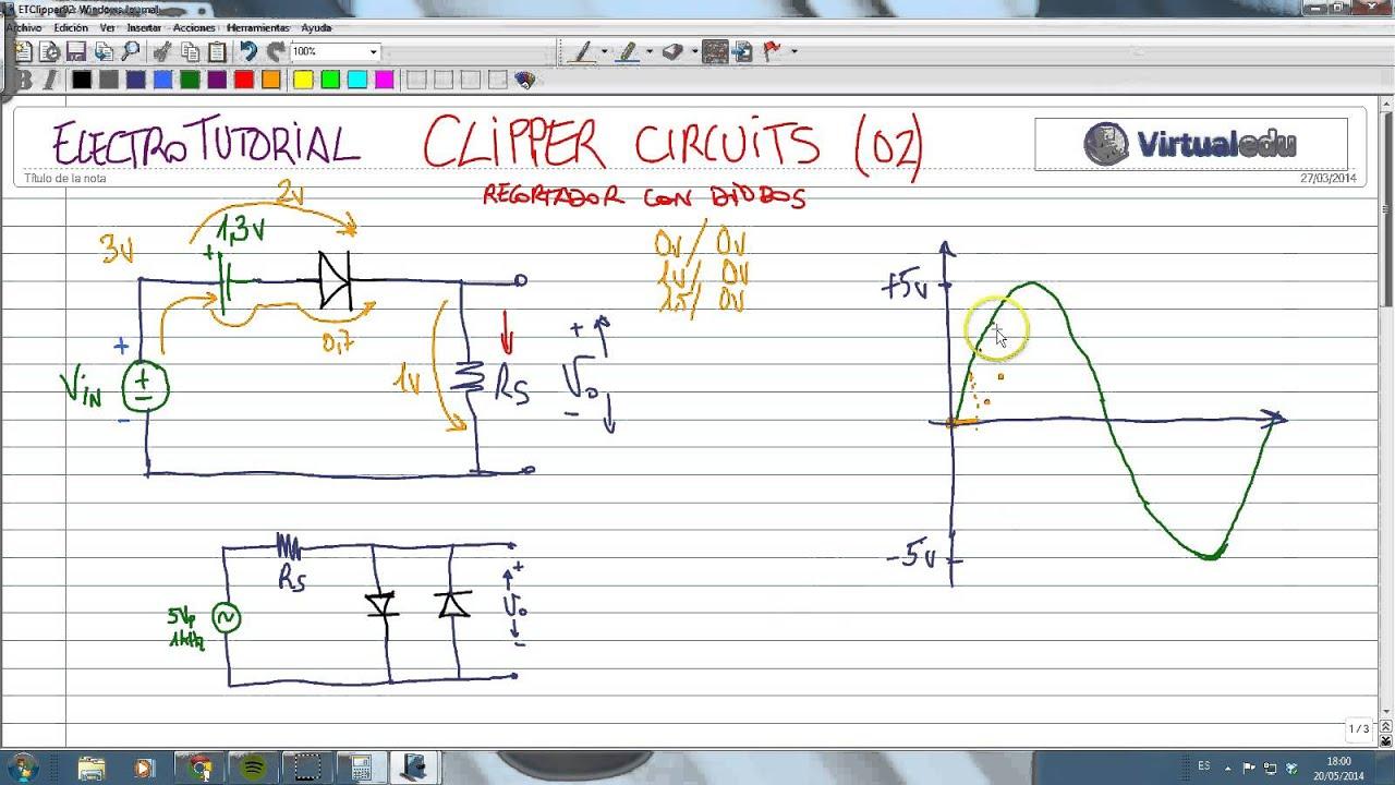 Circuito Recortador : Electrotutorial circuito clipper recortador con diodos