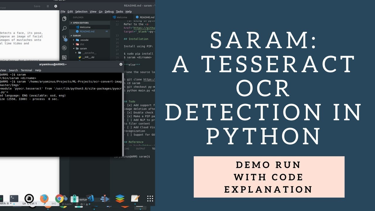 Saram - Image/PDF OCR detection with orientation fix using tesseract python