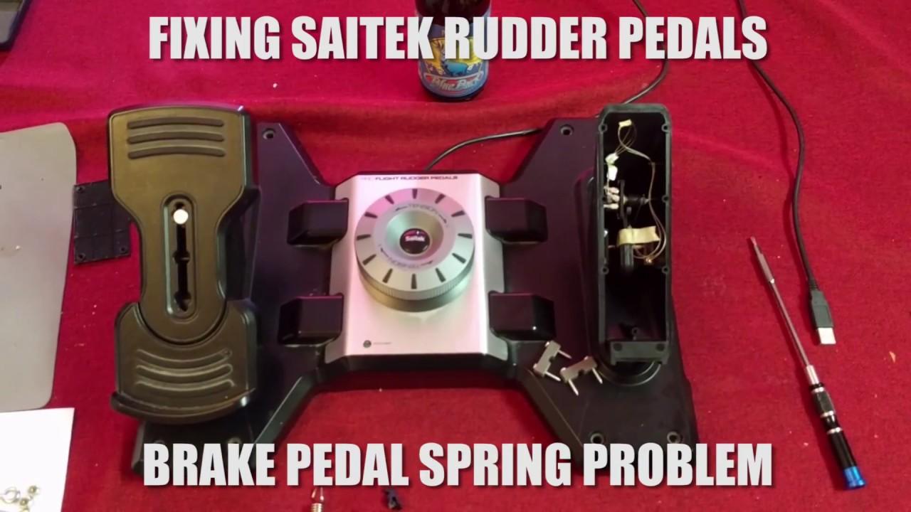 Saitek rudder pedals - repair broken brake spring