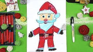 Урок рисования для детей ДЕД МОРОЗ в полный рост