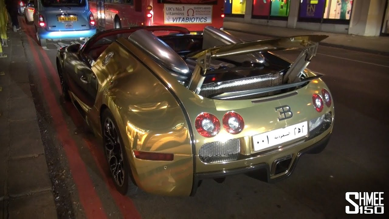 Golden Bugatti Veyron Grand Sport On The Roads Of London
