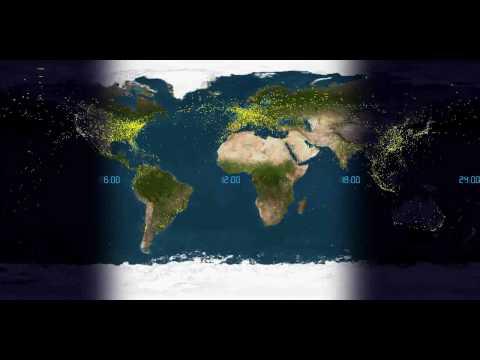 Civil Air Traffic Worldwide 24h improved 1080p HD-version
