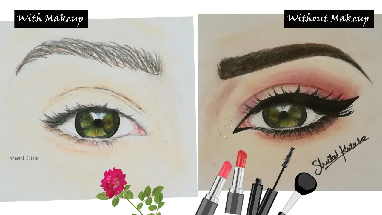 Time Lapse Before After Eye Makeup Drawing Art Youtube