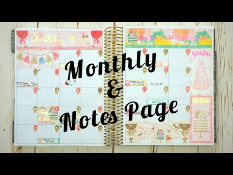 Plan With Me! \ Monthly & Notes Page \ Erin Condren