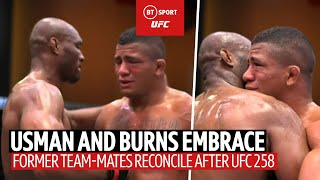 Usman and Burns embrace after UFC 258! Respect between former team-mates following Usman win