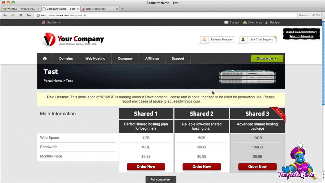 Responsive WHMCS Templates - HTML snippets for tables and product ...