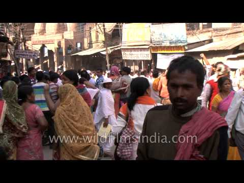 Crowded market in Varanasi
