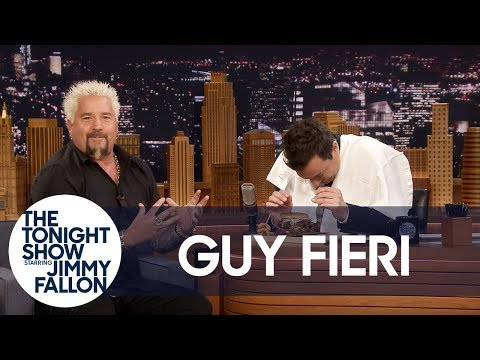 Guy Fieri Shows Jimmy His Bun-Cradling, Burger-Eating Technique