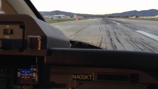 Piaggio P180 cockpit take-off out of KVNY Avanti II