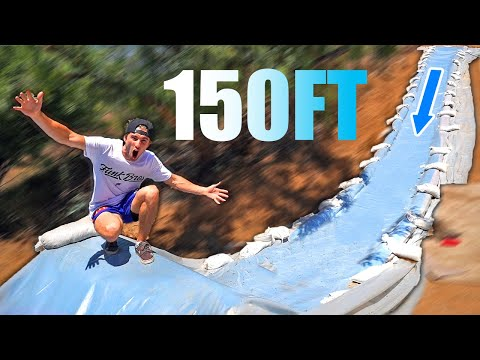 Built 150FT MEGA SLIP N SLIDE into NEW POND! ($25,000 Backyard Project)