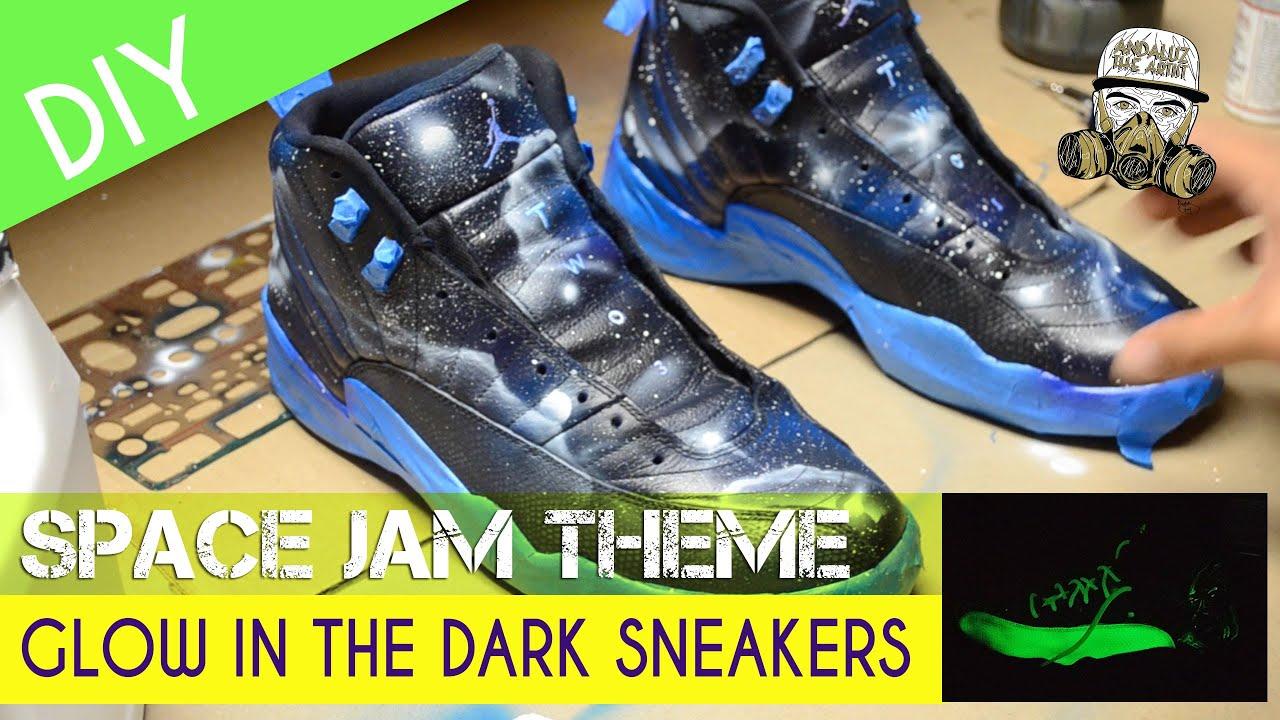 Custom Painted Jordan 12s Space Jam GLOW IN THE DARK Theme