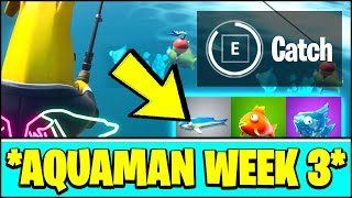 Fortnite AQUAMAN WEEK 3 Challenge LOCATION - CATCH DIFFERENT TYPES OF FISH IN A SINGLE MATCH FISHING