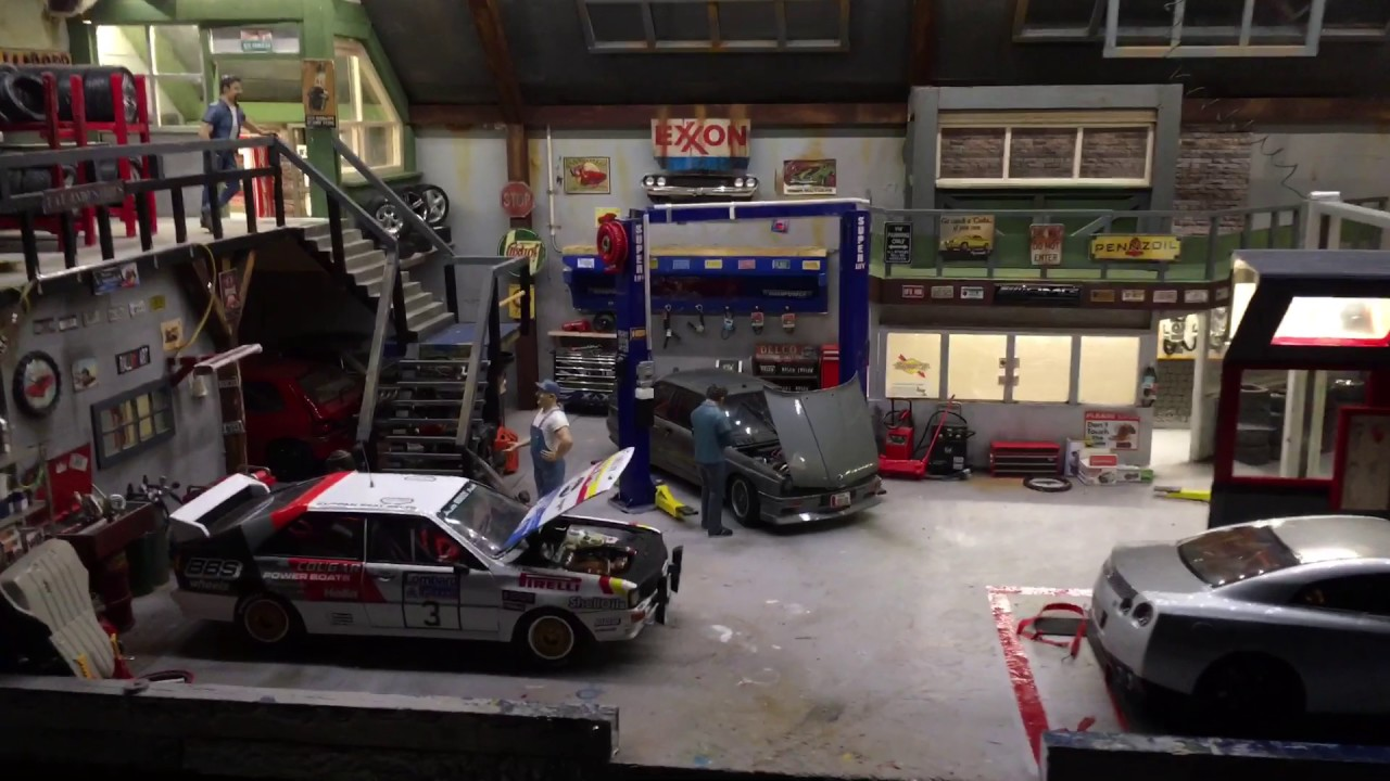 Diorama Garage 1 18 Youtube