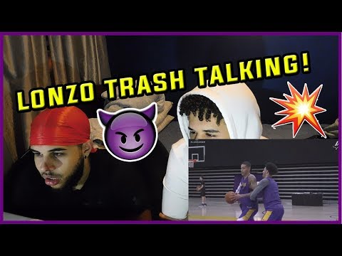 LONZO TALKING TRASH! KYLE KUZMA VS LONZO BALL 1 VS 1 REACTION