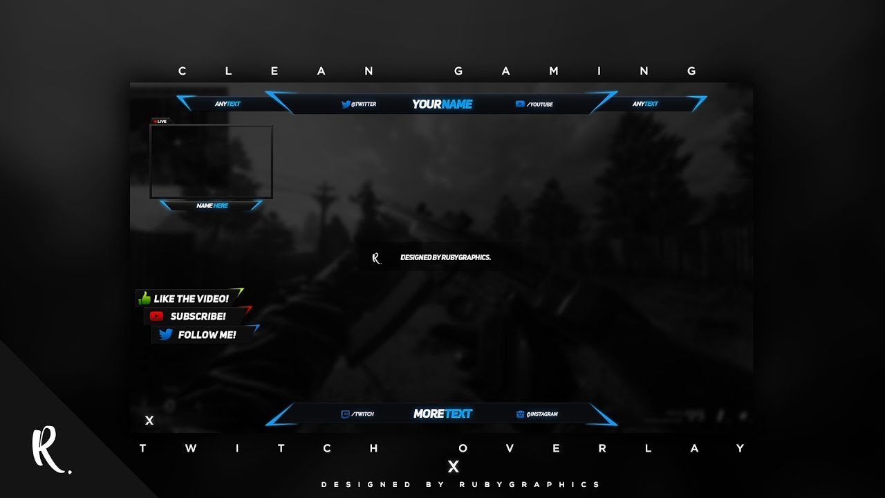 FREE GFX: Free Photoshop Video Overlay Template: Twitch, Gaming ...