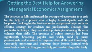 managerial Economics and econometrics assignment help