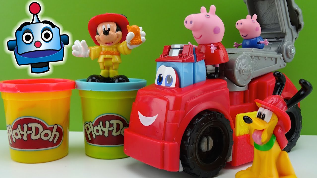Play Doh Fire Truck with Peppa Pig and Mickey Mouse  YouTube
