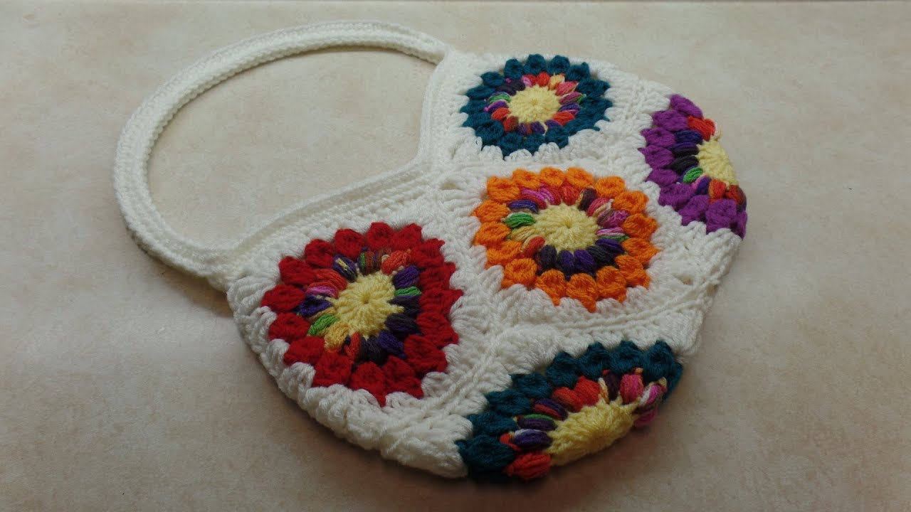 How To Crochet A Granny Square Beginners Tutorial : CROCHET How To #Crochet 8 Granny Square Handbag Purse # ...