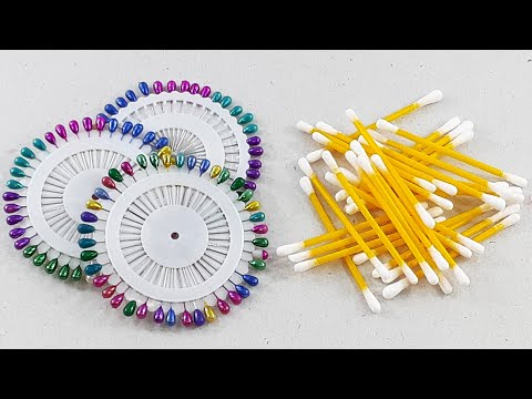 unbelievably craft DIY things out of hijab pin & cotton buds   Best out of waste