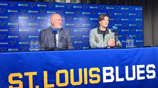 Video: Blues defenseman Jay Bouwmeester addresses the media