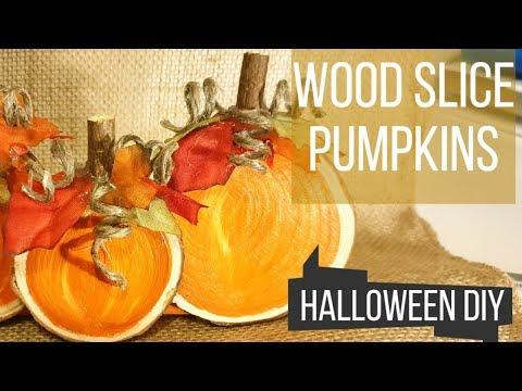 Halloween DIY WOOD SLICE Pumpkins