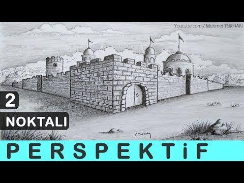 İKİ KAÇIŞ NOKTALI PERSPEKTİF KALE NASIL ÇİZİLİR? - Castle Drawing with 2 Point Perspective